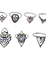 cheap -Women's Knuckle Ring Amethyst 7pcs Silver Metal Imitation Tourmaline Alloy Geometric Rock Street Club Jewelry