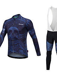 cheap -Malciklo Men's Long Sleeve Cycling Jersey with Bib Tights Blue and White Blue / Black Bike Clothing Suit Thermal / Warm Quick Dry Anatomic Design Reflective Strips Winter Sports Lycra Geometric