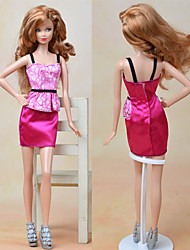 cheap -Doll Dress Dresses For Barbiedoll Fashion Fuchsia Textile Elastic Satin Poly / Cotton Dress For Girl's Doll Toy