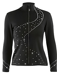 cheap -Figure Skating Fleece Jacket Women's Girls' Ice Skating Jacket Tracksuit Black Stretchy Training Competition Skating Wear Dot Long Sleeve Ice Skating Winter Sports Figure Skating