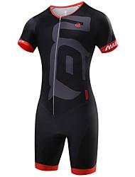 cheap -Malciklo Men's Short Sleeve Triathlon Tri Suit Coolmax® Lycra White Black Red Geometic British Bike Breathable Quick Dry Sports Geometic Clothing Apparel / High Elasticity / SBS Zipper