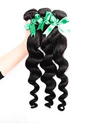 cheap -3 Bundles Brazilian Hair Loose Wave Human Hair Natural Color Hair Weaves / Hair Bulk Human Hair Weaves Human Hair Extensions / 8A