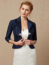 cheap -3/4 Length Sleeve Taffeta Wedding / Party / Evening Women's Wrap With Rhinestone / Buckle Coats / Jackets