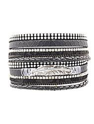 cheap -Women's Wrap Bracelet Leather Bracelet Ladies Fashion Leather Bracelet Jewelry Black / Gray / Blue For Daily Holiday