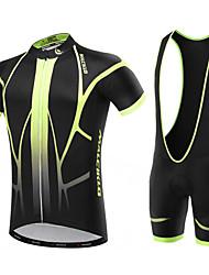 cheap -Malciklo Men's Short Sleeve Cycling Jersey with Bib Shorts White Black British Bike Clothing Suit Breathable 3D Pad Quick Dry Back Pocket Sports Coolmax® Lycra Classic Mountain Bike MTB Road Bike