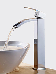 cheap -Bathroom Sink Faucet - Waterfall / Widespread Chrome Centerset Single Handle One HoleBath Taps / Brass
