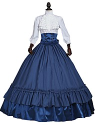 cheap -Victorian Costume Women's Outfits White+Blue Vintage Cosplay 50% Cotton / 50% Polyester 3/4-Length Sleeve Puff / Balloon Sleeve