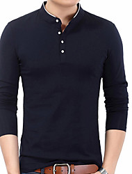 cheap -Men's Daily T-shirt - Solid Colored Stand Black / Long Sleeve / Spring / Fall