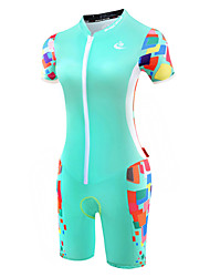 cheap -Malciklo Women's Short Sleeve Triathlon Tri Suit Mint Green Bike Breathable Anatomic Design Reflective Strips Sweat-wicking Sports Polyester Spandex Coolmax® Geometry Clothing Apparel / Lycra