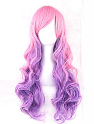 cheap -Cosplay Costume Wig Synthetic Wig Lolita Wavy Wavy With Bangs Wig Pink 13cm(Approx5inch) Pink / Purple Synthetic Hair Side Part Pink