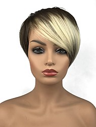 cheap -Synthetic Wig Straight Straight With Bangs Wig Blonde 13cm(Approx5inch) Blonde Synthetic Hair Side Part Blonde StrongBeauty
