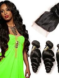 Недорогие -3 комплекта с закрытием Бразильские волосы Свободные волны Натуральные волосы Человека ткет Волосы Ткет человеческих волос Расширения человеческих волос / 8A