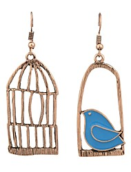 cheap -Women's Drop Earrings Mismatched Bird Birdcage Ladies Earrings Jewelry Gold / Silver For Daily Date