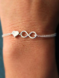 cheap -Women's Chain Bracelet Charm Bracelet Twisted Heart Love Infinity Dainty Ladies Simple Unique Design Basic Alloy Bracelet Jewelry Gold / Silver For Party Gift Daily Casual