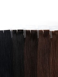 cheap -Neitsi Tape In Human Hair Extensions Straight Remy Human Hair Brazilian Hair Natural Color 1pack Women's Black#1B