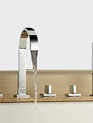cheap -Bathtub Faucet - Contemporary Chrome Widespread Brass Valve Bath Shower Mixer Taps / Three Handles Five Holes