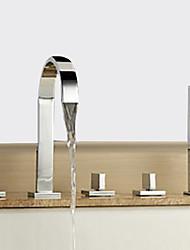 cheap -Bathtub faucet-modern chrome hot and cold split wide brass valve bathtub shower faucet / three handles five holes