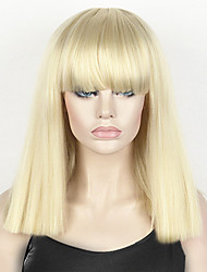 cheap -fashion wig women s short bob kinky straight full bangs synthetic hairpieces 14 blonde cosplay wig