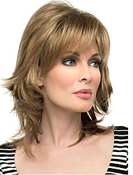 cheap -Synthetic Wig Straight Straight Layered Haircut With Bangs Wig Blonde Blonde Synthetic Hair Blonde StrongBeauty