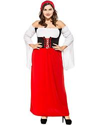 cheap -Halloween Oktoberfest Beer Dirndl Trachtenkleider Women's Dress Shorts Bavarian Costume Red