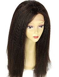 cheap -Virgin Human Hair Human Hair Glueless Lace Front Lace Front Wig style Brazilian Hair Straight Yaki Straight Wig 130% Density with Baby Hair Natural Hairline 100% Virgin Unprocessed Women's Medium