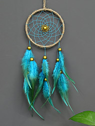 cheap -Boho Dream Catcher Handmade Gift Wall Hanging Decor Art Ornament Craft Feather Blue Bead 11*40cm for Kids Bedroom Wedding Festival