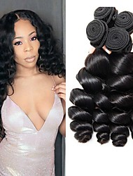 cheap -4 Bundles Brazilian Hair Loose Wave Remy Human Hair 400 g Natural Color Hair Weaves / Hair Bulk Extension 8-28 inch Natural Color Natural Black Human Hair Weaves Full Head Set Human Hair Extensions