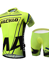 cheap -Malciklo Men's Short Sleeve Cycling Jersey with Shorts Green Dots Bike Clothing Suit Breathable 3D Pad Quick Dry Back Pocket Sports Coolmax® Lycra Dots Mountain Bike MTB Road Bike Cycling Clothing
