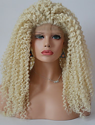 cheap -Synthetic Lace Front Wig Kinky Curly Kinky Curly Lace Front Wig Blonde 13cm(Approx5inch) Light Blonde Synthetic Hair Blonde