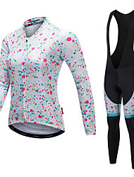 cheap -Malciklo Women's Long Sleeve Cycling Jersey with Bib Tights White Black Polka Dot Bike Clothing Suit Thermal / Warm Quick Dry Anatomic Design Reflective Strips Winter Sports Lycra Polka Dot Mountain