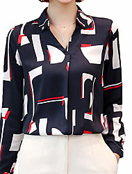 cheap -Women's Daily Work Shirt - Color Block V Neck / Shirt Collar White