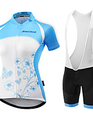 cheap -Malciklo Women's Short Sleeve Cycling Jersey with Bib Shorts - Light Blue / Blue / Black Bike Jersey / Bib Tights / Padded Shorts / Chamois, Breathable, Anatomic Design, Ultraviolet Resistant, UV
