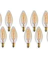 cheap -10pcs 40 W E14 C35 Warm White 2200-2700 k Retro / Dimmable / Decorative Incandescent Vintage Edison Light Bulb 220-240 V