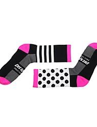 cheap -Compression Socks Athletic Sports Socks Cycling Socks Men's Women's Cycling / Bike Bike / Cycling Anatomic Design Breathability Limits Bacteria 1 Pair Dot Stripes Nylon Elastane Black Orange Green