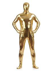 cheap -Shiny Zentai Suits Skin Suit Full Body Suit Ninja Adults' Spandex Latex Cosplay Costumes Sex Men's Women's Golden Solid Colored Halloween Masquerade / Leotard / Onesie / Leotard / Onesie