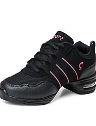 cheap -Women's Dance Shoes Canvas / Tulle Dance Sneakers Splicing Sneaker Low Heel Customizable Black