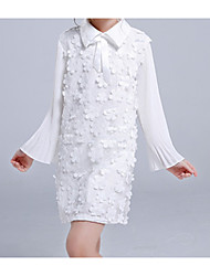 cheap -Kids Girls' Simple Basic Party Holiday Solid Colored Lace Long Sleeve Dress White / Cotton / Cute
