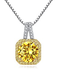 cheap -Women's Cubic Zirconia Citrine tiny diamond Pendant Necklace Ladies Vintage Fashion Zircon Copper Silver Necklace Jewelry For Gift Daily
