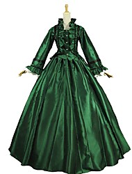 cheap -Maria Antonietta Rococo Victorian Dress Women's Lace Party Prom Japanese Cosplay Costumes Emerald Green / Green and Black / Purple Solid Color Poet Sleeve Ankle Length