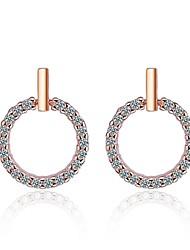 cheap -Women's Cubic Zirconia Stud Earrings Simple Sweet Zircon Earrings Jewelry White / Rose Gold For Gift Evening Party
