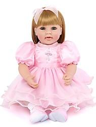 Недорогие -NPK DOLL Куклы реборн Кукла для девочек Девочки Reborn Baby Doll 22 дюймовый Силикон Винил - Новорожденный как живой Милый стиль Ручная работа Безопасно для детей Non Toxic Детские / Головка дискеты