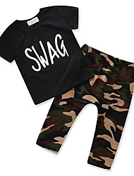 cheap -Toddler Unisex Boys' Casual Street chic Daily Going out Print Stylish Pure Color Print Short Sleeve Regular Regular Cotton Clothing Set Black