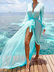 cheap -Women's Boho Plunging Neck Blue Orange Purple High Waist Cover-Up Swimwear - Solid Colored Bow M L XL Blue / Sexy