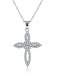 cheap -Women's Cubic Zirconia tiny diamond Pendant Necklace Cross Circle Cross Ladies Fashion S925 Sterling Silver Silver Necklace Jewelry One-piece Suit For Gift Daily