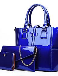 cheap -Women's Bags PU Leather Patent Leather Bag Set 3 Pcs Purse Set Zipper Shopping Bag Sets Handbags Black Blue Purple Red