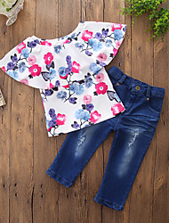cheap -Toddler Girls' Casual Active Daily Going out Floral Stylish Floral Printing Short Sleeve Regular Regular Cotton Clothing Set Blue / Ripped