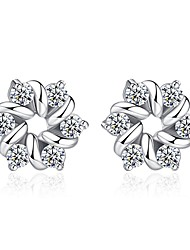cheap -Women's Diamond Cubic Zirconia tiny diamond Stud Earrings Flower Ladies Sweet Fashion Zircon Earrings Jewelry Silver For Daily Date