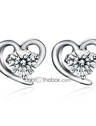cheap -Women's Diamond Cubic Zirconia Stud Earrings Heart Ladies Basic Zircon S925 Sterling Silver Earrings Jewelry Silver For Daily Office & Career