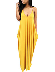 cheap -Women's Maxi Wine Yellow Dress Boho Summer Holiday Going out T Shirt Solid Colored Strap S M Loose / Sexy