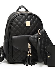 cheap -Women's PU Leather School Bag Rucksack Commuter Backpack Large Capacity Zipper Daily Backpack Black